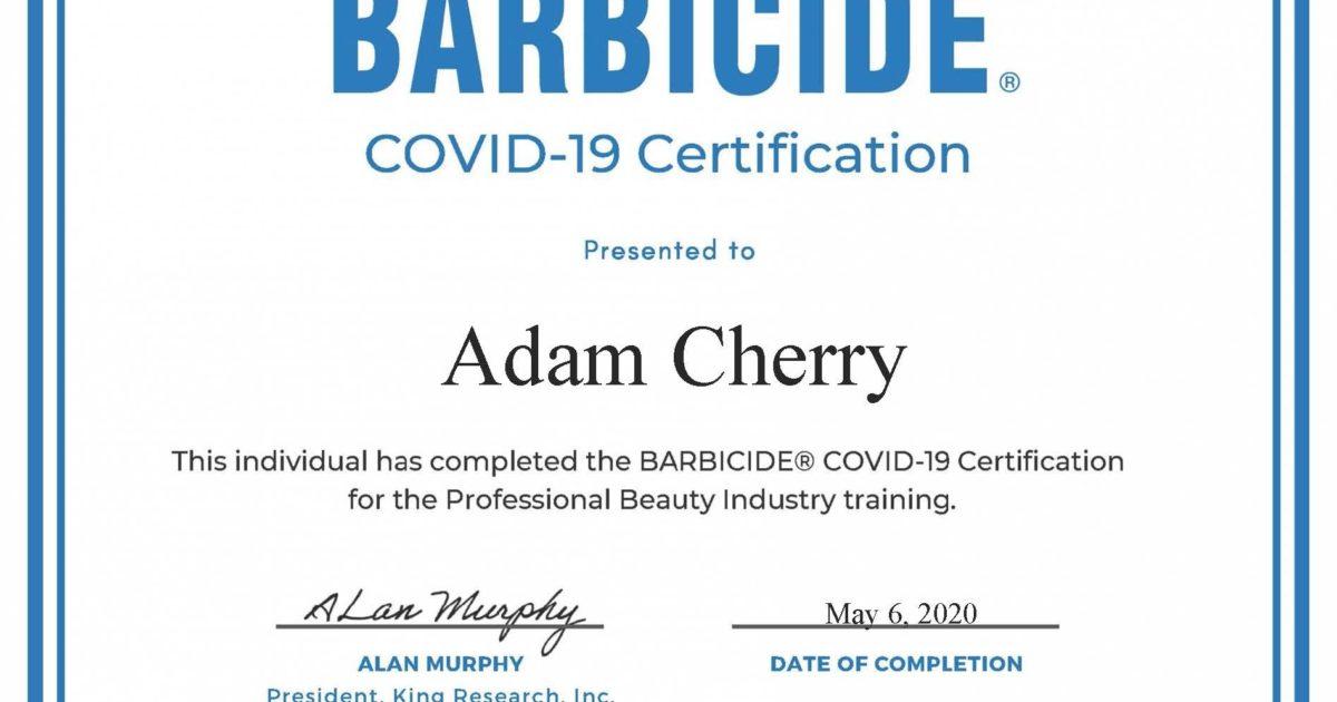 barbicide covid certificate