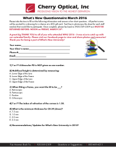What's New Questionnaire March 2016