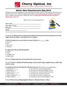 What's New Questionnaire May 2016