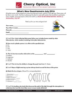 What's New Questionnaire July 2016
