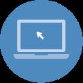 Blue circle laptop