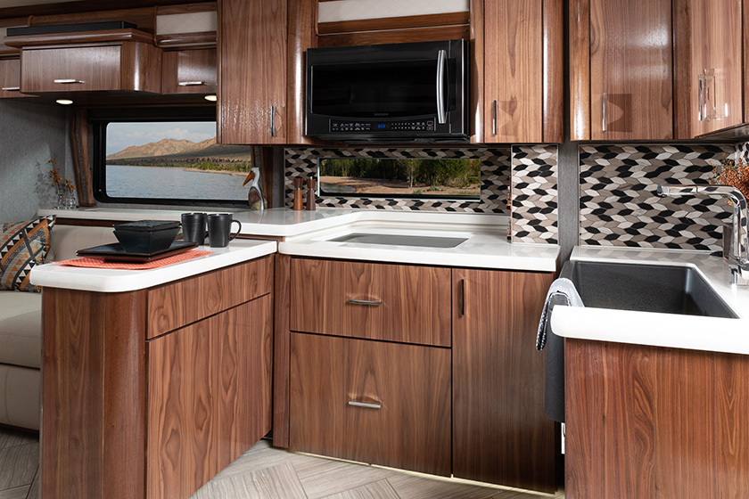 2020 American Eagle shown in Inspiration interior decor with American Black Walnut cabinetry