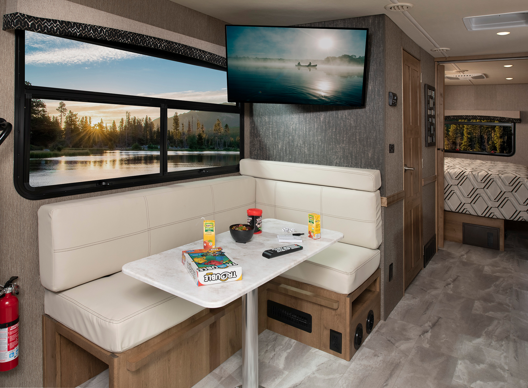 Flair 29M Driftwood décor with Cappuccino cabinetry
